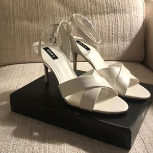 White strapped heeled sandals